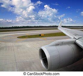 pista decolagem, aterragem, avião, asa avião, estrada