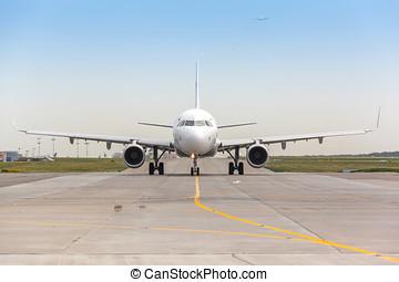 pista decolagem, avião, branca, jato