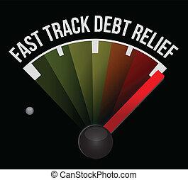 pista, deuda, velocímetro, alivio, rápido