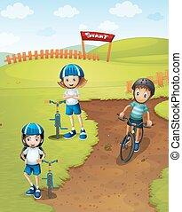 pista, equitación, niños, bicicleta, tres