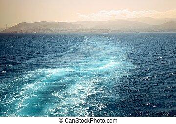 pista, espumoso, atrás, barco, popa