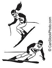 pista, esquiadores, dos