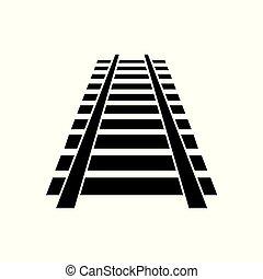 pista, estrada ferro, ícone