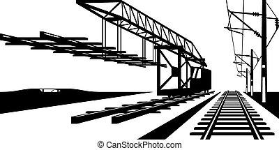 pista, estrada ferro, construção
