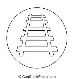 pista, estrada ferro, desenho, ilustração, ícone