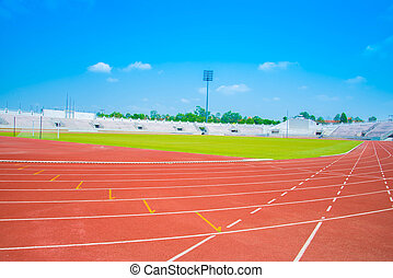 pista, executando, estádio, esportes