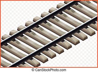 pista ferrovia, isometric, vetorial, 3d