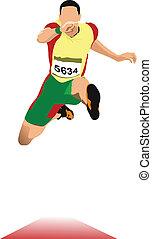 pista, fie, longo, sport., jump., homem