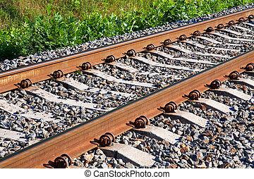 pista, fragmento, ferrovia