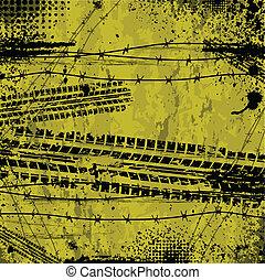 pista, giallo, pneumatico, fondo