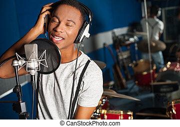 pista, gravando, cantor, estúdio