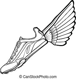pista, illustr, vector, zapato, ala