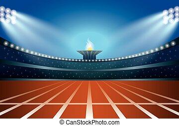 pista, illustrazione, generale, vettore, stadio, notte, fronte, atletica, vista.