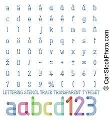 pista, lettering, estêncil, transparente, typeset