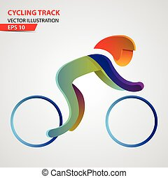 pista, logotipo, desporto, ciclismo