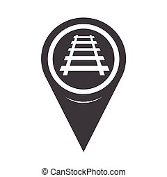 pista, mapa, estrada ferro, ponteiro, ícone