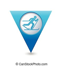 pista, mapa, icono, indicador, esquí