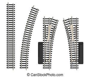 pista, miniatura, ferrocarril, elementos