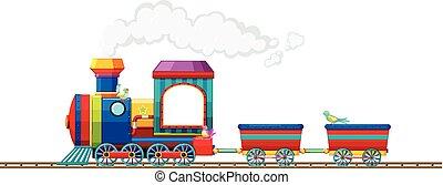 pista, montando, trem