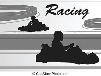 pista, motorista, carreta, raça, fundo, ir, paisagem