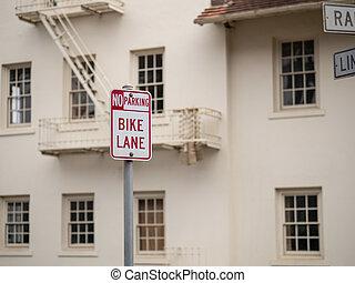 pista, não, sinal, frente, bicicleta, estacionamento, armazém, branca, afixado