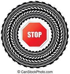 pista, parada, neumático, señal