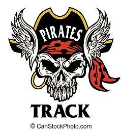 pista, piratas, cráneo, mascota