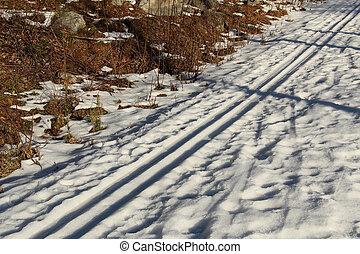 pista, primavera, esqui, luz solar