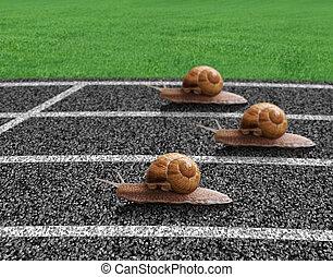 pista, raça, caracóis, esportes