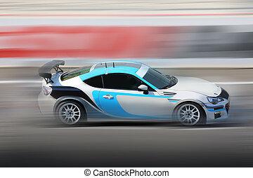 pista, raça carro, correndo, velocidade
