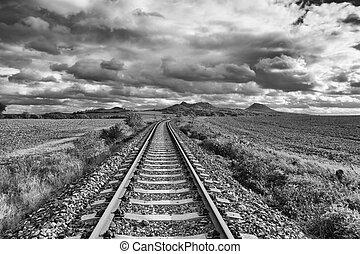 pista, rana, tcheco, único, república, estrada ferro