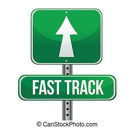 pista, roadsign, concepto, rápido