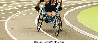 pista, sílla de ruedas, interior, carreras, atleta