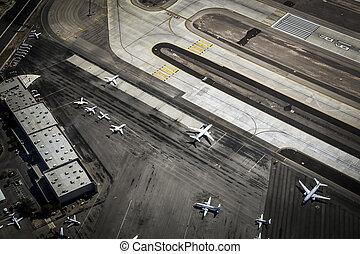 pista, sopra, aeroporto, las