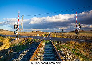 pista, tcheco, único, republic., estrada ferro, pôr do sol