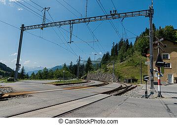 pista, trem, cruzamento, estação, suíça, ferrovia, langwies