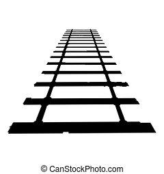 pista, tren, silueta, horizonte