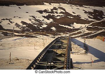 pista, vía férrea funicular, tiro
