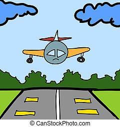 pista, vettore, fondo, aereo, cartone animato