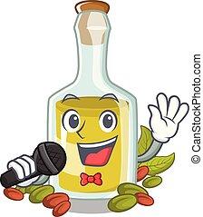 pistacchio, olio, carattere, canto, bottiglia