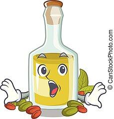 pistacchio, olio, carattere, sorpreso, bottiglia