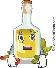 pistacchio, timoroso, carattere, bottiglia, olio