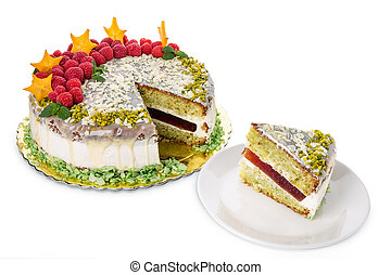 Pistachio cake drizzled with white chocolate. Raspberry from the top.