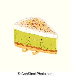 Pistachio cheesecake character - Pistachio cheesecake vector...