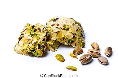 Pistachio halva dessert on a plate