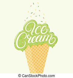 Pistachio ice cream hand written lettering with brawn glaze...