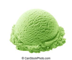 pistachio ice cream - scoop of pistachio ice cream isolated...