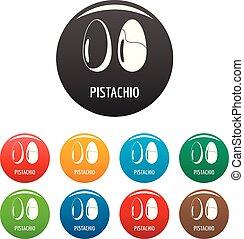 Pistachio icons set color