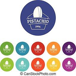 Pistachio icons set vector color