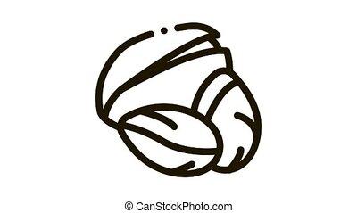 pistachio nut Icon Animation. black pistachio nut animated icon on white background